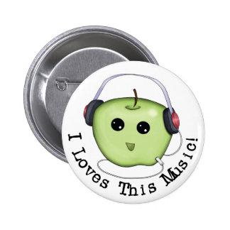 ¡I amores esta música! Botón verde de Apple Pinbac Pin Redondo De 2 Pulgadas