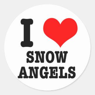 I ángeles de la nieve del CORAZÓN (AMOR) Pegatina Redonda