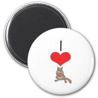 I ardilla del corazón (amor) imán redondo 5 cm