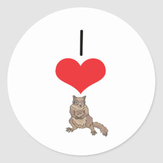 I ardilla del corazón (amor) pegatina redonda