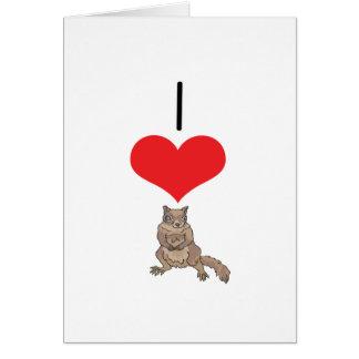 I ardilla del corazón (amor) tarjeta de felicitación