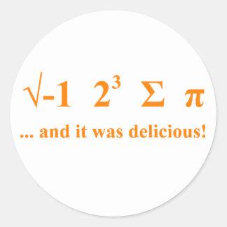 I ate pi classic round sticker