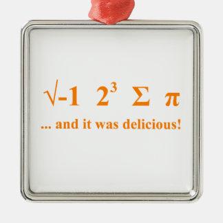 I ate pi square metal christmas ornament