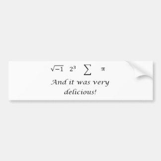 I ate some pie math shirt bumper sticker