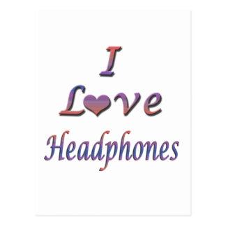 I auriculares del corazón (amor) postales