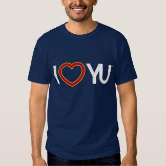 I azul de la camiseta de YU del corazón Poleras