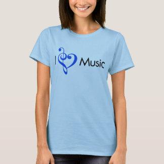 I azul de la música del corazón playera