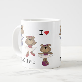 I bailarina del oso del ballet del corazón taza grande