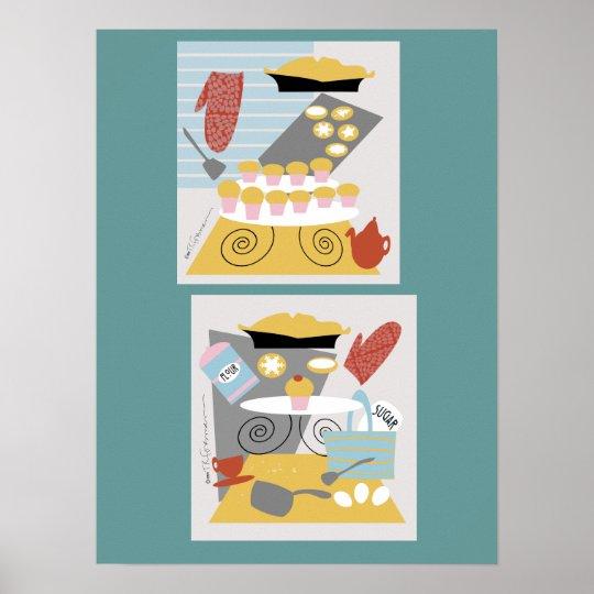 "'I bake"" 2 retro illustrations Print"