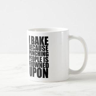 i bake because punching people is frowned upon coffee mug