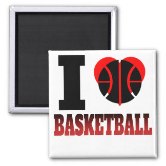 I baloncesto del corazón imán cuadrado