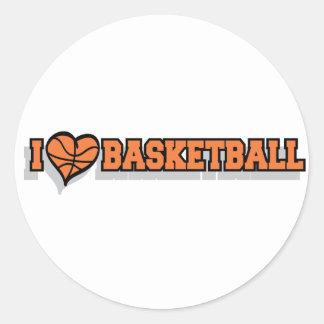 I baloncesto del corazón pegatinas redondas