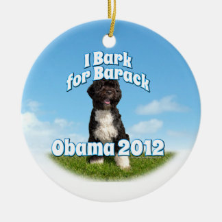 I Bark for Barack, Bo the First Dog Obama Ceramic Ornament