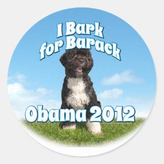 I Bark for Barack, Bo the First Dog Obama Classic Round Sticker