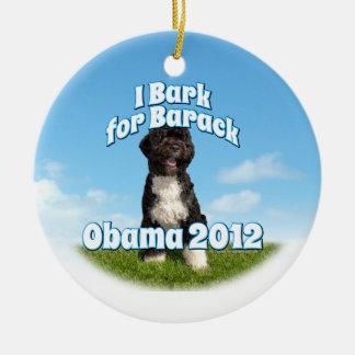 I Bark for Barack, Bo the First Dog Obama Double-Sided Ceramic Round Christmas Ornament