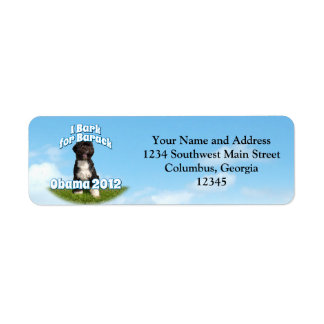 I Bark for Barack, Bo the First Dog Obama Return Address Label