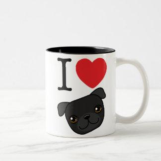 I barros amasados negros del corazón tazas de café