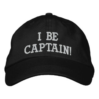 I Be Captain. Black and White. Embroidered Baseball Hat