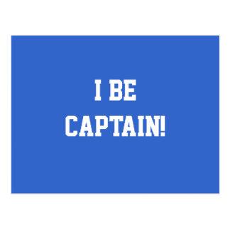 I Be Captain. Blue and White. Custom Postcard