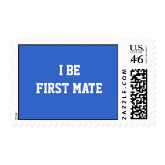 I Be First Mate. Blue and White. Postage