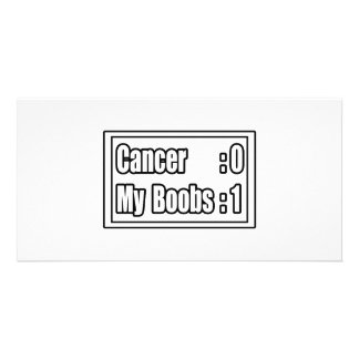 I Beat Breast Cancer (Scoreboard) Custom Photo Card
