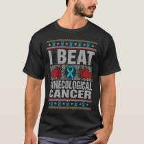 I Beat Gynecological Cancer Awareness Christmas T-Shirt