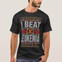 I Beat Leukemia Awareness Christmas T-Shirt