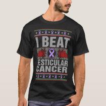 I Beat Testicular Cancer Awareness Christmas T-Shirt