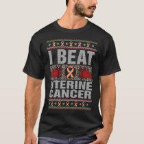 I Beat Uterine Cancer Awareness Christmas T-Shirt