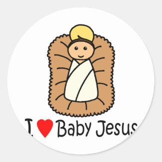 I bebé Jesús del corazón (amor) Pegatinas Redondas