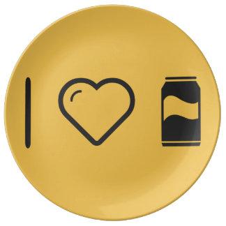 I bebidas carbonatadas corazón platos de cerámica