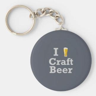 I [beer] Craft Beer Basic Round Button Keychain