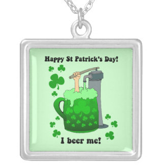 I beer me square pendant necklace