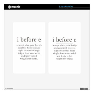 I Before E Except After Parody Humor Teacher Quote Kindle Fire Decals