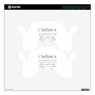 I Before E Except After Parody Humor Teacher Quote PS3 Controller Decal