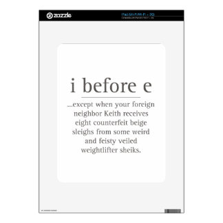 I Before E Except After Parody Humor Teacher Quote Skins For The iPad