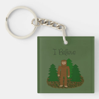 I Believe - Bigfoot - change color Double-Sided Square Acrylic Keychain