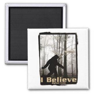 I Believe Bigfoot Lives 2 Inch Square Magnet
