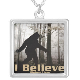 I Believe Bigfoot Lives Silver Plated Necklace