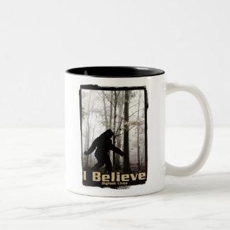 I Believe Bigfoot Lives Two-Tone Coffee Mug
