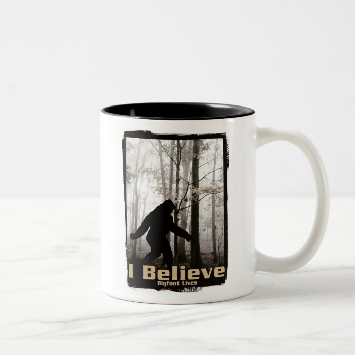 I Believe Bigfoot Lives Two-Tone Coffee Mug