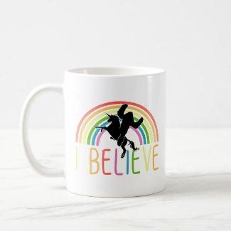 I Believe Bigfoot Sasquatch Unicorn Rainbow Coffee Mug