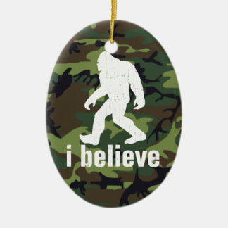 I Believe - Bigfoot with Forest Green Camo Double-Sided Oval Ceramic Christmas Ornament