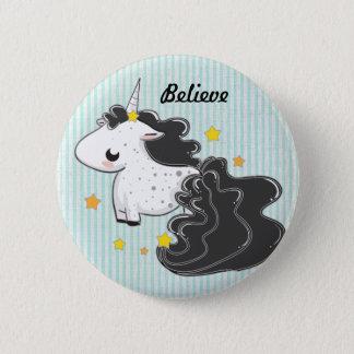I believe Black cartoon unicorn with stars badge Button