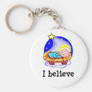 I Believe Christ in Manger Basic Round Button Keychain