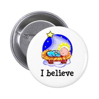 I Believe Christ in Manger 2 Inch Round Button