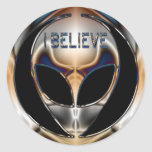I BELIEVE CHROME ALIEN HEAD CLASSIC ROUND STICKER