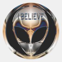 I BELIEVE CHROME ALIEN HEAD STICKER