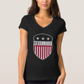 I Believe Crest Womens V-Neck T-Shirt