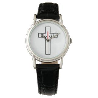 I believe cross, womens black strap watch. wrist watch